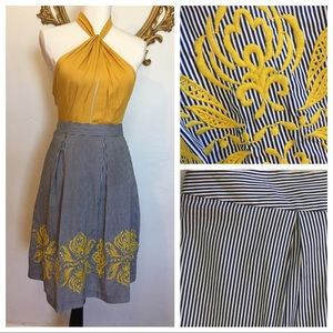 INC Navy and White Striped Embroiled Skirt Size 14